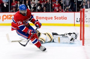 Habs PK Subban in Bruins offensive zone