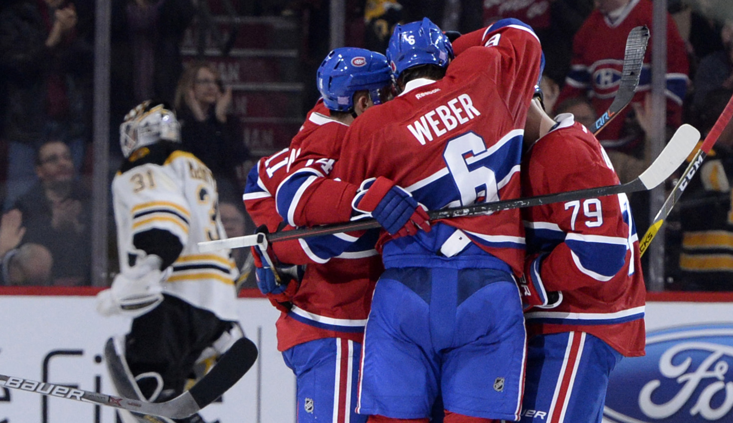 Nov 8, 2016; Montreal, Quebec, CAN; Montreal Canadiens defenseman Shea Weber (6) is congratulated by teammates after scoring a goal against the Boston Bruins during the second period at the Bell Centre. Mandatory Credit: Eric Bolte-USA TODAY Sports